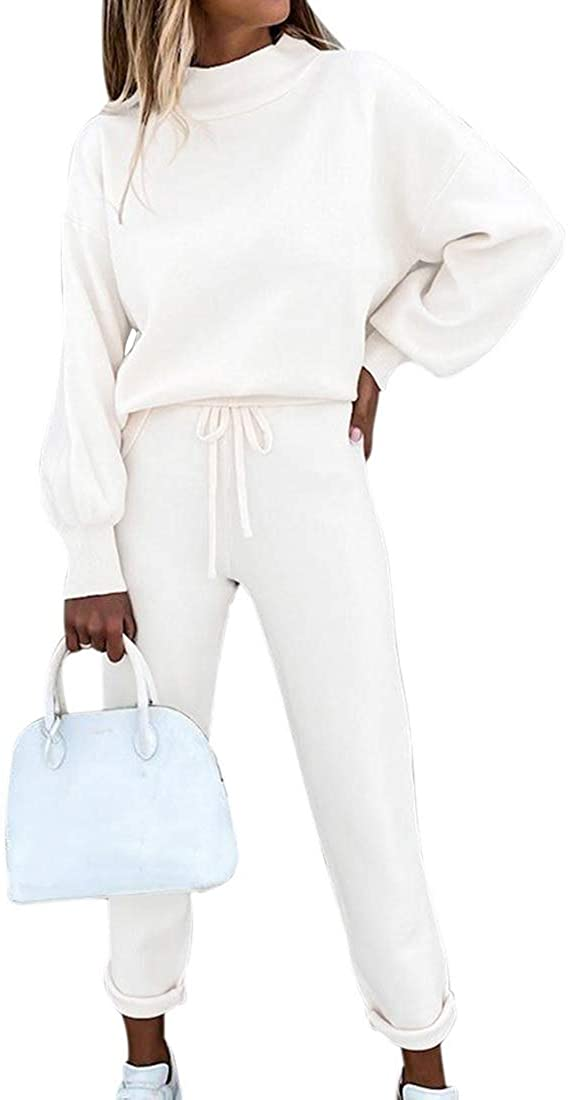 Vertvie Damen Sportanzug Trainingsanzug Mode 2-teiliges Set aus Rollkragen Sweatshirt mit Jogginghose Bequem Jogginganzug Freizeitanzug