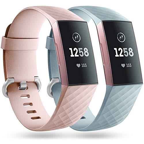 Faliogo 2 Stück Ersatzriemen Kompatibel mit Fitbit Charge 3 Armband/Fitbit Charge 4 Armband, Weiches Sports Uhrenarmband Armbänder für Damen Männer, Klein, Sand Rosa/Mint