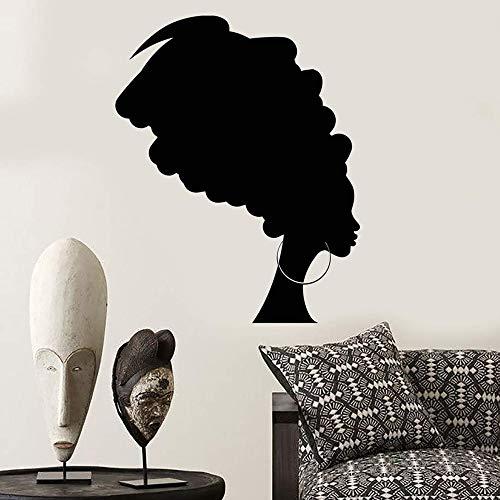 Vinyl muursticker voor vrouwen, Afrikaanse vrouwen, zwart, sjaal voor dames, meisjes, muurkunst, decoratie, woonkamer, slaapkamer, decoratie