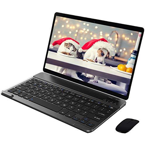 Tablet 10 Pollici con Wifi Offerte 64GB ROM 4G LTE Android 9.0 4GB RAM Tablet con Tastiera Dual Sim,Octa-Core,Dual Fotocamera Voukou (Nero con Tastiera)