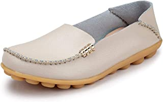 FUDYNMALC Womens Leather Casual Round Toe Moccasins Comfort Driving Loafers Shoes
