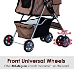 PawHut Pet Stroller Cat Dog Basket Zipper Entry Fold Cup Holder Carrier Cart Wheels Travel Brown 17