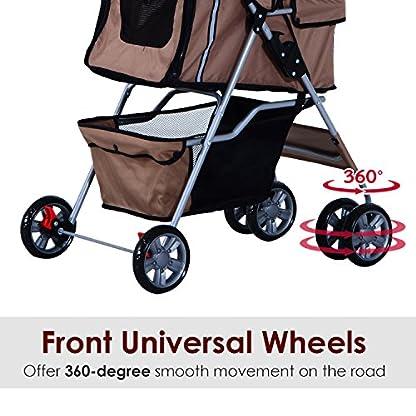 PawHut Pet Stroller Cat Dog Basket Zipper Entry Fold Cup Holder Carrier Cart Wheels Travel Brown 8