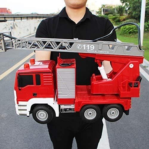 Lotees Camiones Todoterreno RC RC Car Remote Control Fire Truck 2.4G Large Electric Fire Truck Spray Fire Toy Toy Sprinkler Music Fire Motor Motor Regalos Toy Cumpleaños Regalo para Adultos y niños