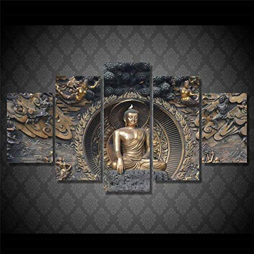 ZHFFYY Canvas Painting 5 Piece Canvas Painting Art Photo Wall Posters 5 Frame Home Decoration Panel of Buddha Buddhist Art Landscape High Definition Printing