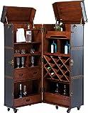 Kare Design Schrankkoffer Bar Colonial, Barkoffer im Kolonialstil, Braun, Schrankbar Kolonial, Barschrank Kroko, (H/B/T) 154x61x61cm