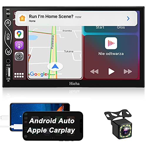 Double Din Car Stereo with Bluetooth, Apple Carplay/Android Anto, Hieha Touch Screen Car Radio with Backup Camera, 7 Inch Carplay Stereo, AM/FM, Mirror Link, Voice Control, SWC