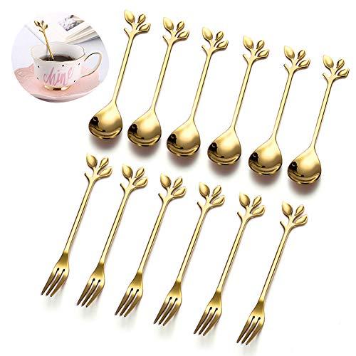 Cucharillas de café tenedor de postre/cucharas pequeñas para Postre/Juego de cubiertos de cucharita de acero inoxidable/Vajilla de cóctel/12Piezas
