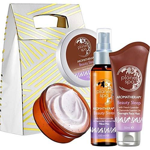 Avon Planet Spa Aromatherapie Beauty Sleep Set 3tlg. Körpercreme/Körper-Kissenspray/Gesichtsmaske mit Lavendel & Kamille