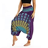 EVFIT Hippie Pantalon Thai Yoga Fitness Loose Femmes Jambe Large Danse Bloomers Style Ethnique Summer Beach (Color : Purple B, Size : One Size)