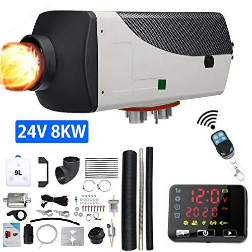 hook.s Verbesserte 24V 8KW Luftdieselheizung Parkheizung mit Schalldämpfer-Fernbedienung LCD-Schalter Für LKW, Boot, Autoanhänger, Wohnmobile, Tourenwagen, Wohnmobile, Wohnwagen