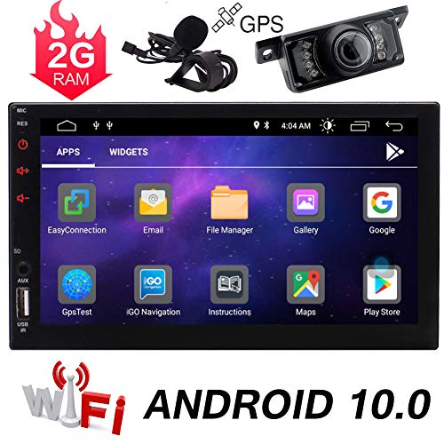 Double Din Android 10.0 Car Stereo Touch Screen Car Radio with Bluetooth 7 Inch GPS Navigation 2DIN Radio Receiver Android Head Unit Backup Camera Support WiFi/Mirror Link/SWC/DVR/USB/SD