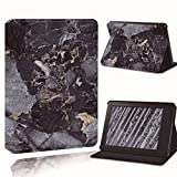 LeDiYouGou para Amazon Kindle 8Th 10Th Paperwhite 1/2/3/4 Printed Leather Smart Reader Stand Folio Cover-Ultra-Thin Marble Tablet Stand Case, Negro, para Paperwhite4 10Th Gen
