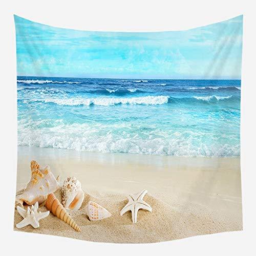Sol mar tapiz océano playa colgante de pared paisaje de agua decoración de la playa paño de pared nube azul tela de fondo de espuma azul a4 180x200cm