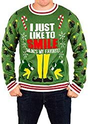 buddy the elf smilings my favorite ugly christmas sweater in green - Buddy The Elf Christmas Sweater