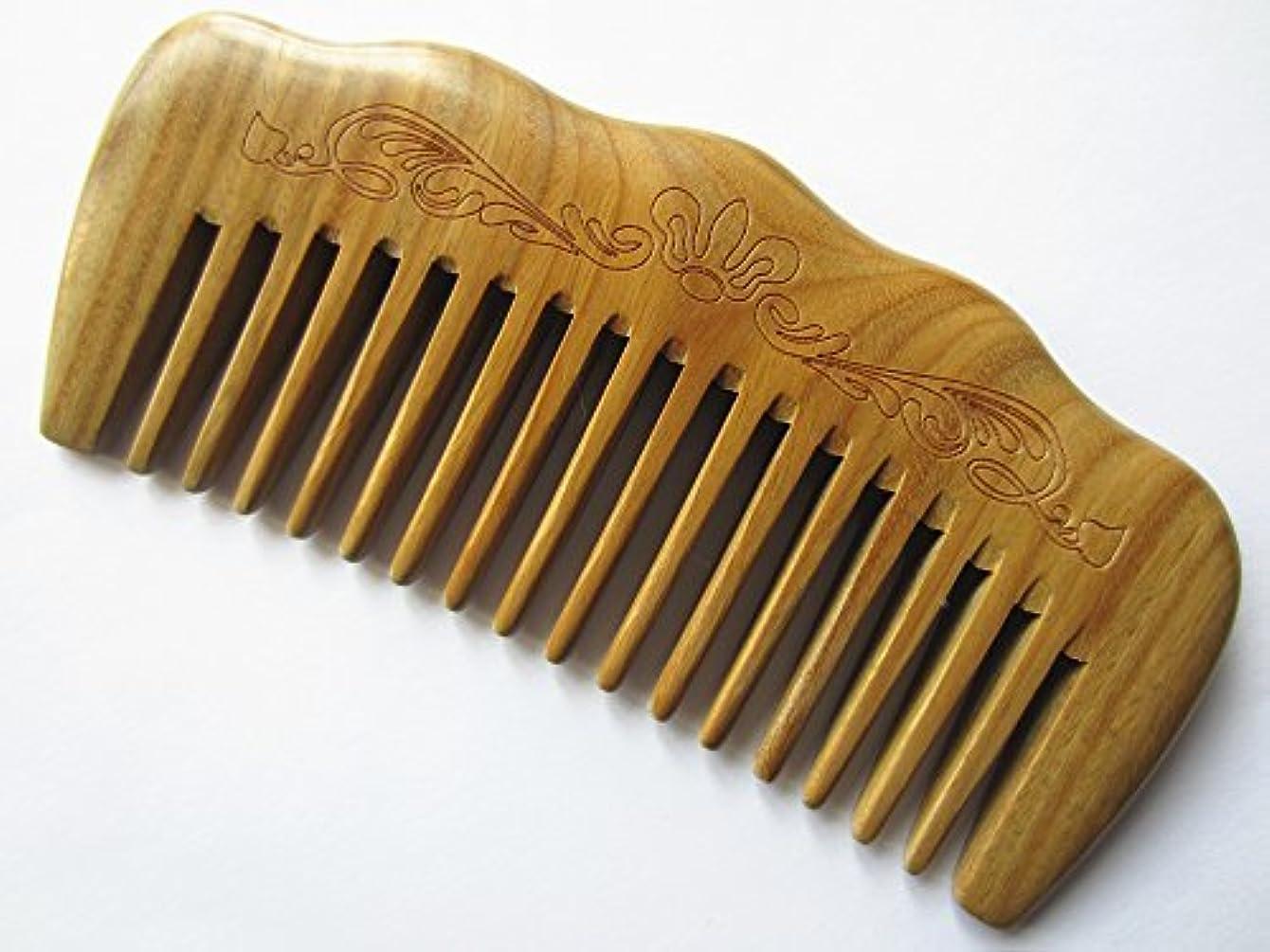 メジャー上流の上記の頭と肩Myhsmooth Gs-by-mt Wide Tooth Wood Handmade Natural Green Sandalwood No Static Comb with Aromatic Scent for Detangling Curly Hair and Gift (4.9