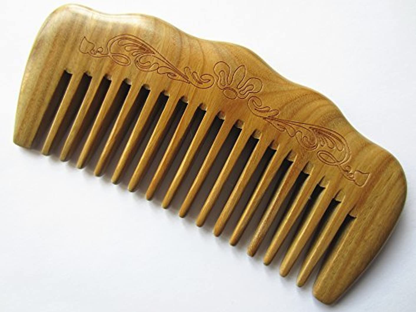 絶望的な排除するパシフィックMyhsmooth Gs-by-mt Wide Tooth Wood Handmade Natural Green Sandalwood No Static Comb with Aromatic Scent for Detangling Curly Hair and Gift (4.9