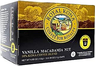 Royal Kona Coffee Vanilla Macadamia, Light Roast, Single-Serve Coffee Pods - 12 Count Box