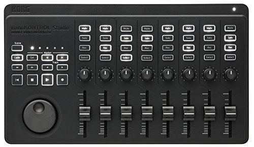 KORG nanoKONTROL Studio, Mobiler MIDI Controller, Bluetooth Controller zur Musikproduktion an PC und DAW, schwarz