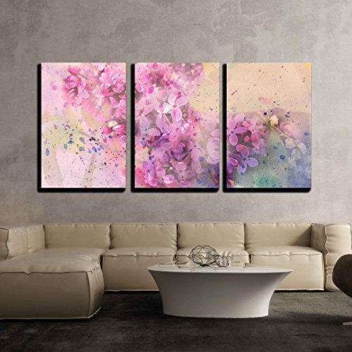 wall26 - 3 Piece Canvas Wall Art - Watercolor Branch of Lilac - Modern Home Art Stretched and Framed Ready to Hang - 16'x24'x3 Panels