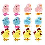 PRETYZOOM 12 Piezas de Juguetes de Pascua de Cuerda para Pollito Que Saltan Lindos Pollos de Peluche Juguetes para Niños Favor de La Fiesta de Pascua Bonnet de Pascua Cesta de Pascua