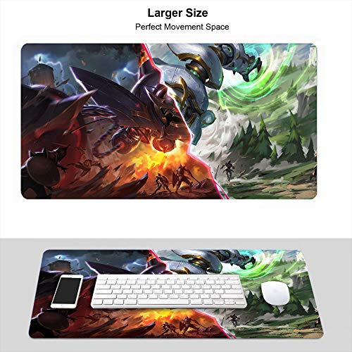 Large Gaming Mouse Pad, Thick Large (35.5×15.7 Inch) for League Legends Desk Mouse Pad Premium-Textured Anti-Fray, Lancer Paragon and Lancer Rogue Blitzcrank Illustration Splash Art