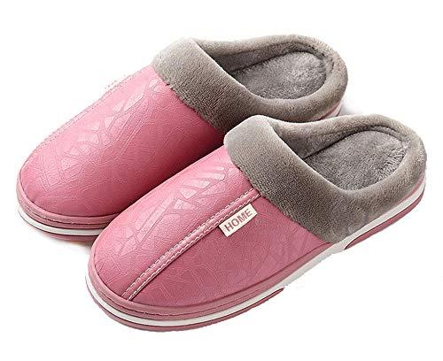 CELANDA Zapatillas de Estar por casa para Mujer Impermeables de PU Pantuflas Térmicos de Invierno Suave Algodón Casa Zapatos Cómodo Y Antideslizante (A Rosa 38/39 EU=Talla fabricante:39/40)