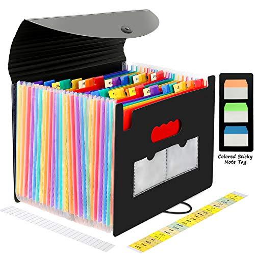 CHEPULA 24 Pockets Expanding File Folder Multicolored Accordian File Organizer File Organizer Expandable Folder with Expandable Cover Document Organizer A4 Size File Box (Black)