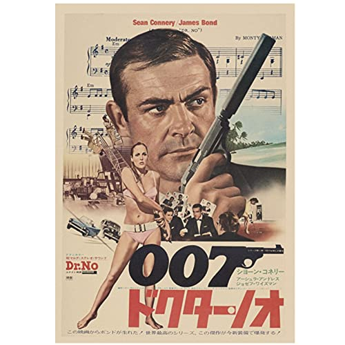 Jhmjqx Retro 007 Poster Pierce Brosnan Film Classici Vintage Poster Retro Home Decor Bar Poster Retro Art 50x70 cm x1 Senza Cornice