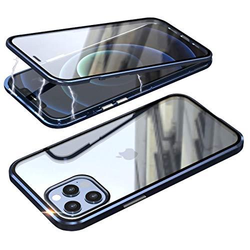 Cover per iPhone 12/iPhone 12 PRO,Custodia 360 Gradi Full Body Protezione[Doppi Lati Trasparente Pellicola Vetro Temperato+Metal Bumper con Adsorbimento Magnetico] Antiurto Magnetica Case,Blu