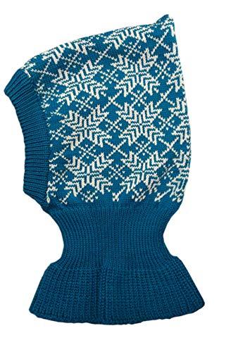100% Merinowolle Sturmhaube Strickmütze Winter Herbst Mütze Schal Baby Kinder Gr. Large, Aquablau-Naturweiß