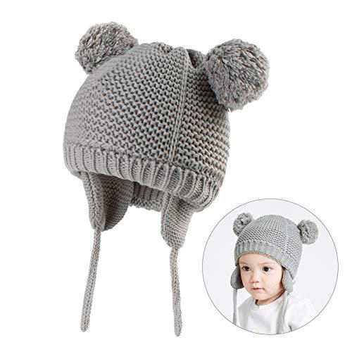 JTENG Baby Mütze Mädchen & Jungen Kleinkind Unifarbe Warm Mütze Strickmütze Baby Wintermütze