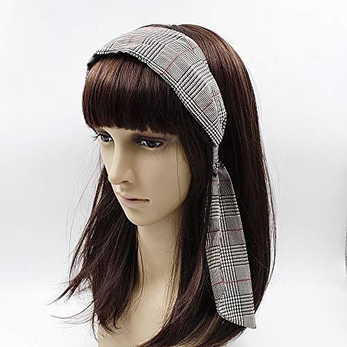 Serre tête en tissu imprimé Prince de Galles largeur 6.5cm gris