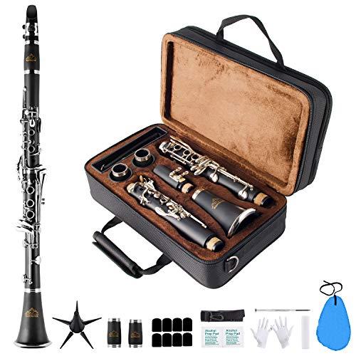 EastRock Klarinette Komplett Klarinette 17 Keys mit Tasten Student Klarinetten Schwarz Nickel in B-Dur 17 Schlüssel für Anfänger (Schwarz)