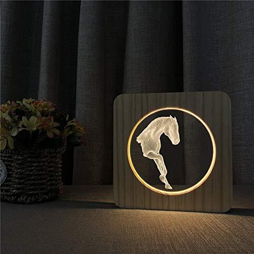 Art Cheval Style Acrylique Nuit en Bois lumière de Table Lampe Interrupteur contrôle Lampe de Gravure Enfants Chambre décoration Cadeau