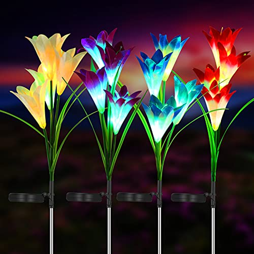 Outdoor Solar Flower Lights - 4 Pack Solar Garden Lights with 16 Larger Lily Flowers, Waterproof 7 Color Changing Solar Garden Stake Lights for Garden Patio Yard Pathway Decoration