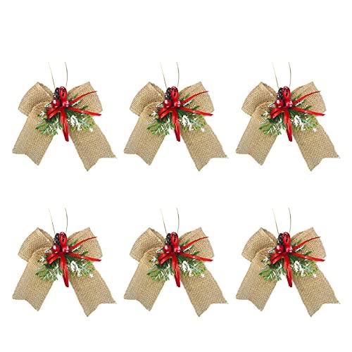 NIUXICH Arcos de árbol de Navidad, lazo grande para guirnalda de Navidad, adornos colgantes para ventana, vacaciones, decoración interior y exterior