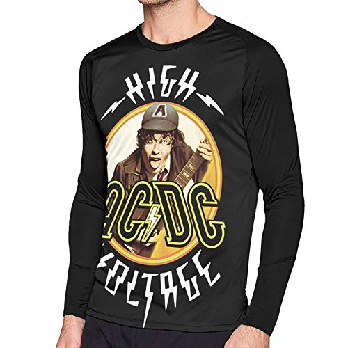 Maichengxuan ACDC High Voltage T Shirt Uomo Manica Lunga Casual Top Raglan Baseball Sport Tee Nero S