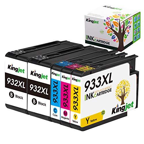 Kingjet 932XL 933XL Compatible con HP 932 933 XL Cartuchos de Tinta Reemplazo para HP Officejet 6600 6700 6100 7612 7110 7610 6700 (2 Negro, 1 Cian, 1 Magenta, 1 Amarillo)