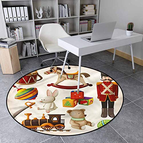 Kids Polyester Protective Cushioning Rug Pad for Living Kids Room Bedroom Wooden Toy Rocking Horse Drum 4'6' in Diameter