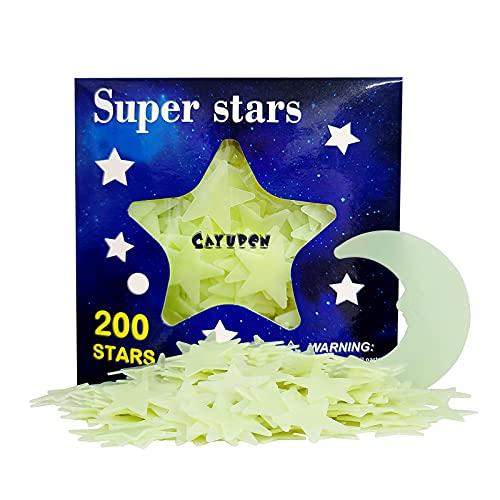 Pegatinas Infantiles 3D, CAYUDEN 201 pcs Estrellas Fluorescentes para Techo Vinilos Infantiles Estrellas Pegatinas de pared 3D con Luna Decoraciones de Pared Pegatinas Niños para Bebé, Dormitorios