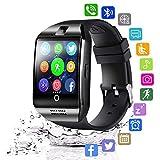 N\A Smart Watch Android, Relojes Inteligentes Masculinos y Femeninos Relojes Deportivos Bluetooth con Cámara Podómetro y Ranura para Tarjeta SIM para Android iOS Samsung Xiaomi Huawei,Negro