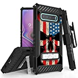 Beyond Cell Trishield Series Compatible with S10 Case/Military Grade Rugged Cover + [Metal Kickstand] + Belt Clip Holster Compatible with Samsung Galaxy S10 (2019)- US Flag Skull #2