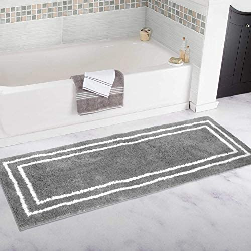 Uphome Bath Runner Extra Long Gray Banded Shaggy Bathroom Rugs 24x59 inch Non Slip Water Absorbent product image