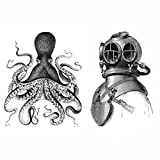 Octopus and Deep Sea Diver Set Black and White Nautical Vintage Style Posters Art Wall Decor Beach House