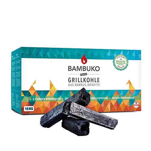 BAMBUKO Premium Grillkohle, 10 kg Bio Bambuskohle, rauchfrei & sehr heiß