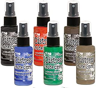 Ranger Tim Holtz Distress Oxide Spray Spring 2019 Release 2 New Colors, Bold 6 Bottle Bundle Including Bonus Mixing Tray and Foam Paint Dobbers