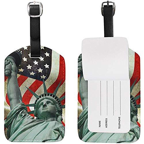 Estatua De La Bandera Americana Etiqueta De Equipaje