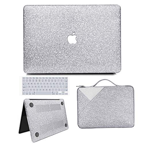MacBook Air 13 inch Case, Anban Glitter Bling Smooth Protective Case & Glitter Laptop Sleeve & Keyboard Cover Compatible for MacBook Air 13' (A1369 & A1466) (Silver Cover Set)