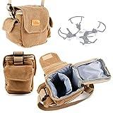 DURAGADGET Bolso Marrón/Canvas para Dron Takara Baby Bird DMS90 / Arshiner MJX X901 / Hasakee Explorer Mini Bolsillos Exteriores
